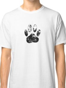 Black And White Grunge Paw Print Classic T-Shirt