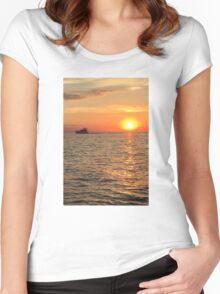Sunset on Lake Michigan Women's Fitted Scoop T-Shirt