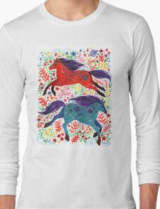A Horse of Red and Blue Long Sleeve T-Shirt