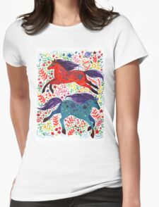 A Horse of Red and Blue Womens Fitted T-Shirt