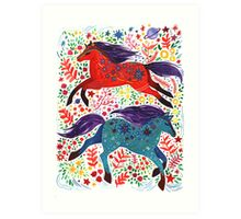 A Horse of Red and Blue Art Print
