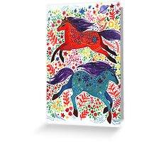 A Horse of Red and Blue Greeting Card