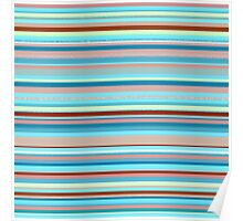 Colorful horizontal pastel colored lines Poster