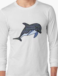 Dolphin Typography Playful Curious Sensitive Insti Long Sleeve T-Shirt