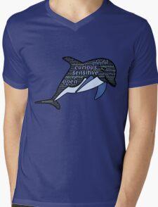 Dolphin Typography Playful Curious Sensitive Insti Mens V-Neck T-Shirt