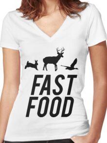 Fast Food Deer Hunter Venison Women's Fitted V-Neck T-Shirt