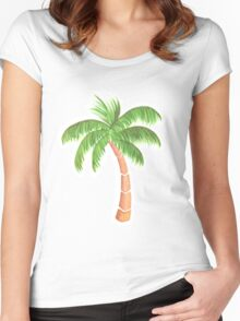 Tropical Palm Tree - Watercolor Women's Fitted Scoop T-Shirt
