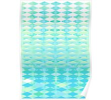 Aqua Watercolor With Ombre Harlequin Pattern Poster