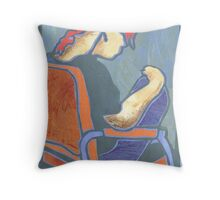 78-girl with red hair Throw Pillow