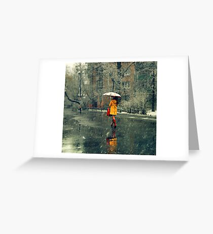 A girl in a yellow coat Greeting Card