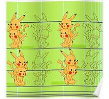 green pikachu Poster