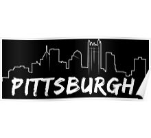 Pittsburgh Skyline In White Poster