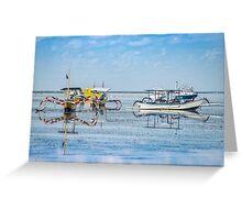 Sanur Boat Reflection Greeting Card