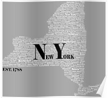 New York State Black and White Poster