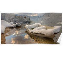 Snowy Boat on Bohinj Poster