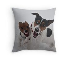 Romping in the snow Throw Pillow