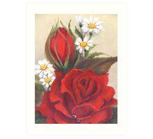 Rose & Daisy Art Print