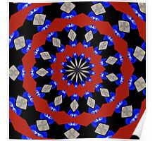 Red Gray Blue Kaleidoscope Poster
