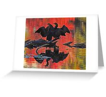 Synchronized silhouetted cormorants Greeting Card