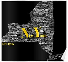 New York State White & Gold Text Poster