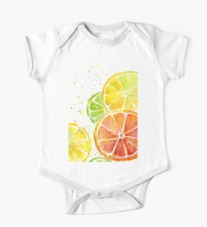 Juicy Citrus Fruit Watercolor, Food Painting, Tasty Art One Piece - Short Sleeve
