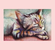 Sleeping Kitten Watercolor, Cute Cats Illustration Kids Tee