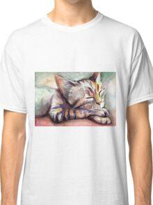 Sleeping Kitten Watercolor, Cute Cats Illustration Classic T-Shirt