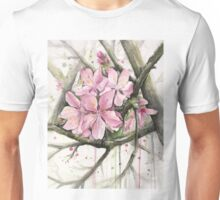 Cherry Blossom Watercolor Painting Unisex T-Shirt