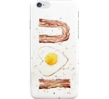 I Love Bacon and Egg Whimsical Watercolor Illustration iPhone Case/Skin