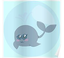 Little whale in a bubble Poster