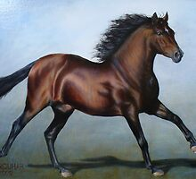 Bay Stallion Running by Jean Farquhar