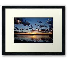 Pelican Sunset on Lake Macquarie NSW Australia Framed Print