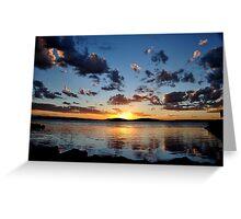 Pelican Sunset on Lake Macquarie NSW Australia Greeting Card