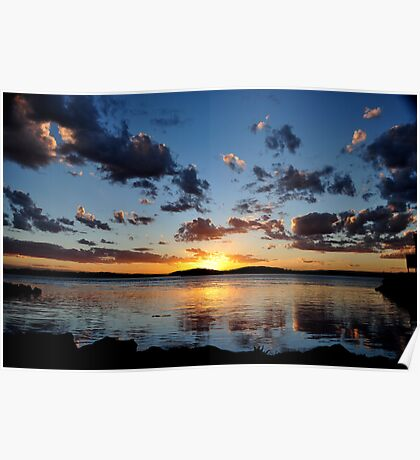 Pelican Sunset on Lake Macquarie NSW Australia Poster