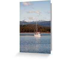 On the Huon with Snow on Hartz Mountains Greeting Card