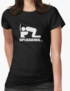 Uploading Downloading computer humour Womens Fitted T-Shirt