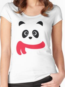 Cute panda with scarf Women's Fitted Scoop T-Shirt