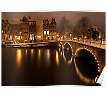 Amsterdam in Snow Poster