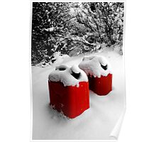 Gas Cans in Snow Poster
