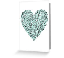 Blue Flower Heart Greeting Card