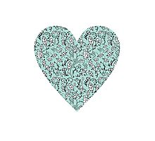 Blue Flower Heart Photographic Print