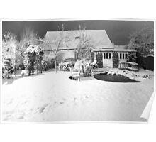 Garden Snow in England Poster