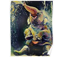 Joy - Happy Baby Elephant Playing in Water - Fine Art Painting Poster