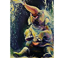 Joy - Happy Baby Elephant Playing in Water - Fine Art Painting Photographic Print
