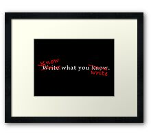 Writing Advice in White Framed Print