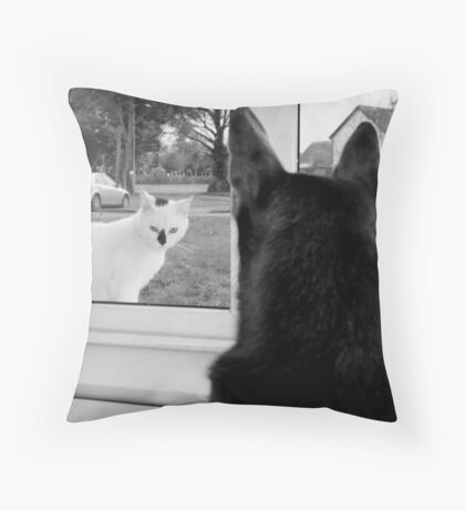 A Feline Visitor Throw Pillow