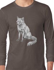 Sitting fox illustration Long Sleeve T-Shirt
