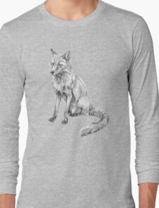 Sitting fox illustration Long Sleeve T-Shirt