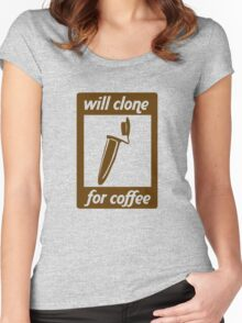 Will Clone for Coffee Women's Fitted Scoop T-Shirt