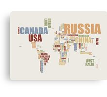 World Map in Words 2 Canvas Print